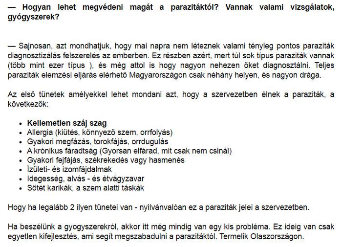 programok a test megtisztítására a parazitáktól)